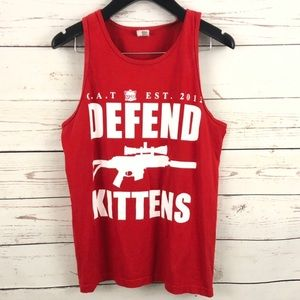"Very Rare Cat Crew ""Defend Kittens"" tank top"